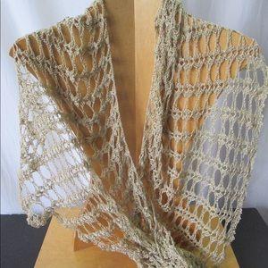 Crochet Scarf Shawl Open Weave Boho Festival Wear